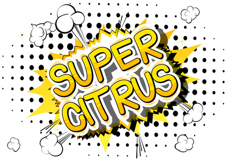 Illustration pour Super Citrus - Comic book style word on abstract background. - image libre de droit