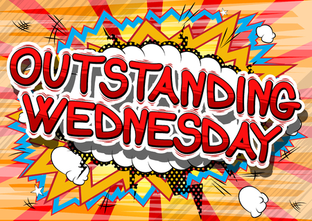 Illustration pour Outstanding Wednesday - Comic book style word on abstract background. - image libre de droit