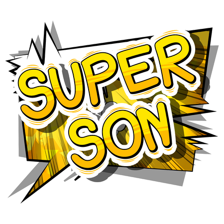 Illustration pour Super Son - Comic book style phrase on abstract background. - image libre de droit