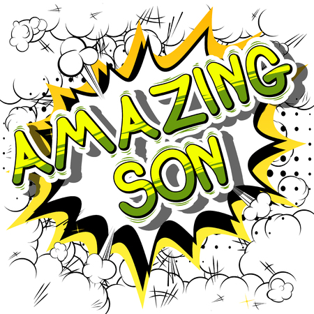 Illustration pour Amazing Son - Comic book style phrase on abstract background. - image libre de droit
