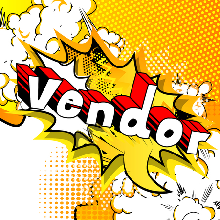 Ilustración de Vendor - Comic book style word on abstract background. - Imagen libre de derechos