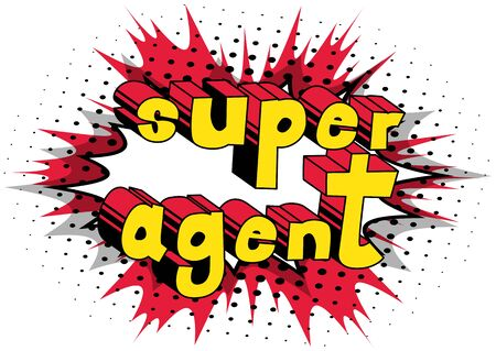 Ilustración de Super Agent - Comic book style word on abstract background. - Imagen libre de derechos