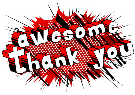 Illustration pour Awesome Thank You - Comic book style word on abstract background. - image libre de droit