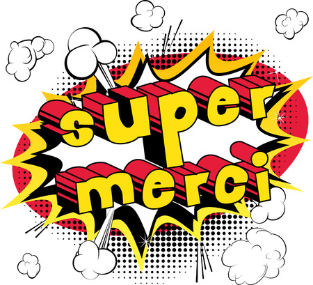 Illustration pour Super Merci - Thank You in French - Comic book style word on abstract background. - image libre de droit