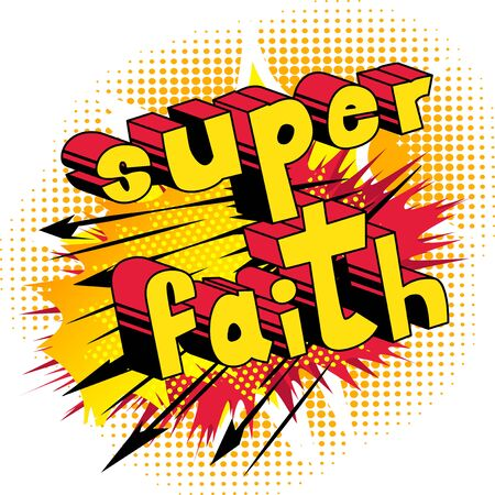 Illustration for Super Faith in Comic book style word - Royalty Free Image