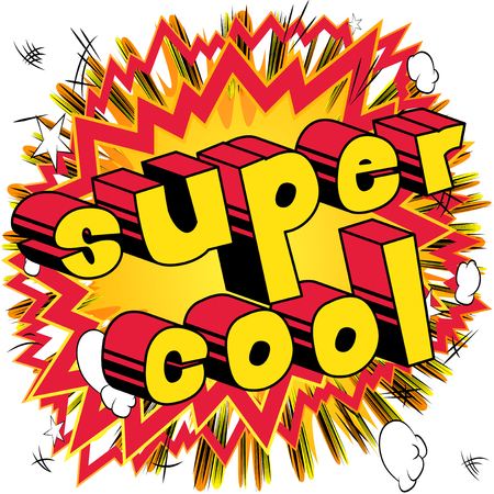 Ilustración de Super Cool - Comic book style word on abstract background. - Imagen libre de derechos