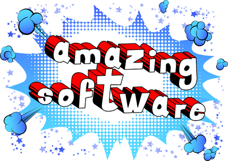 Illustration for Amazing Software - Comic book style word on abstract background. - Royalty Free Image
