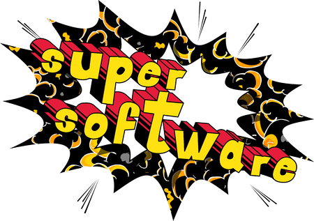 Illustration for Super Software - Comic book style word on abstract background. - Royalty Free Image