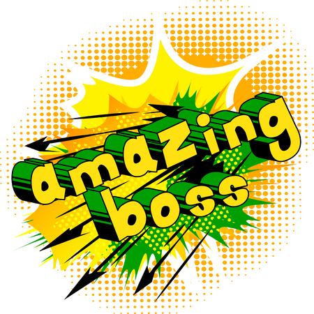 Ilustración de Amazing Boss - Comic book style word on abstract background. - Imagen libre de derechos