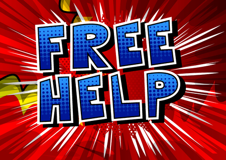 Illustration pour Free Help - Comic book style phrase on abstract background. - image libre de droit