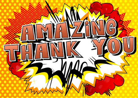 Illustration pour Amazing Thank You - Comic book style word on abstract background. - image libre de droit