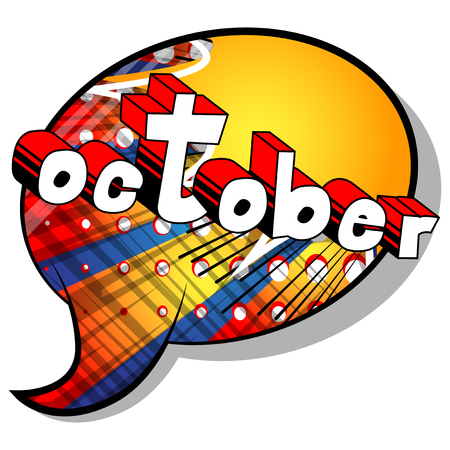 Ilustración de October - Comic book style word on abstract background. - Imagen libre de derechos