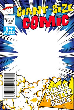 Ilustración de Editable comic book cover with blank explosion background. - Imagen libre de derechos