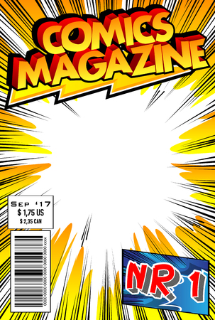 Illustration for Editable comic book cover with abstract design. - Royalty Free Image