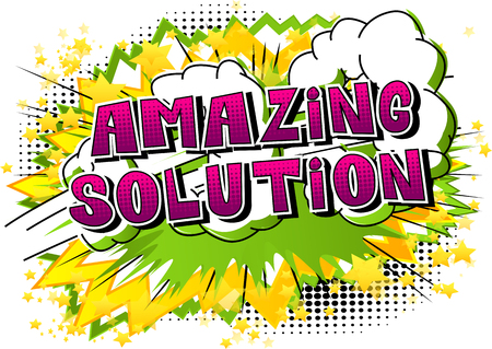 Illustration for Amazing Solution - Comic book style word on abstract background. - Royalty Free Image
