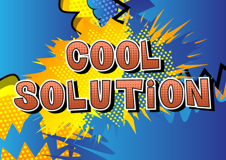 Illustration for Cool Solution - Comic book style word on abstract background. - Royalty Free Image