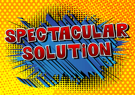 Illustration for Spectacular Solution - Comic book style word on abstract background. - Royalty Free Image