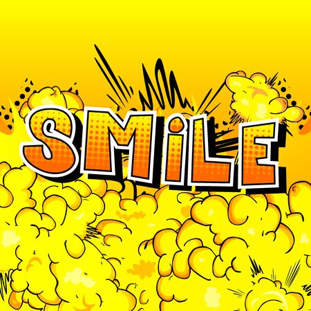Ilustración de Smile - Comic book style word on abstract background. - Imagen libre de derechos
