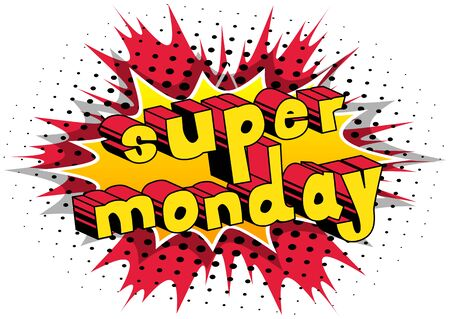 Illustration for Super Monday  Comic book style word - Royalty Free Image