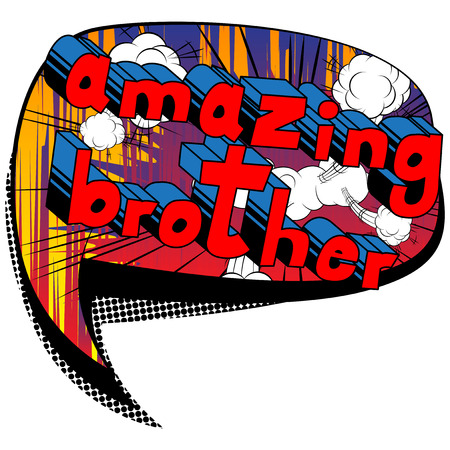 Illustration pour Amazing Brother - Comic book style phrase on abstract background. - image libre de droit