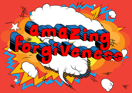 Ilustración de Amazing Forgiveness Comic book style phrase vector illustration - Imagen libre de derechos