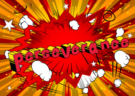 Ilustración de Perseverance - Comic book word on abstract background. - Imagen libre de derechos