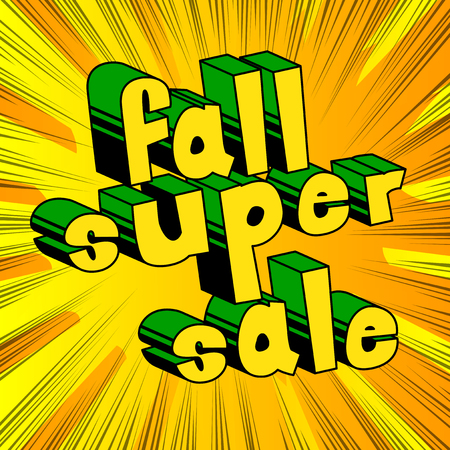 Illustration pour Fall Super Sale - Comic book style word on abstract background. - image libre de droit