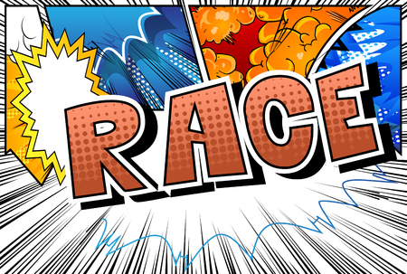 Illustration pour Race - Comic book style word on abstract background. - image libre de droit