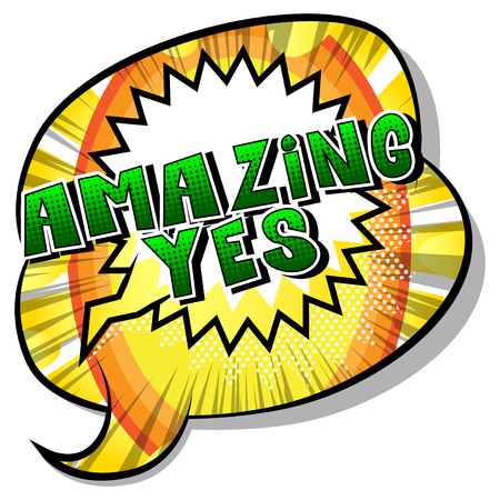 Ilustración de Amazing Yes - Comic book style word on abstract background. - Imagen libre de derechos