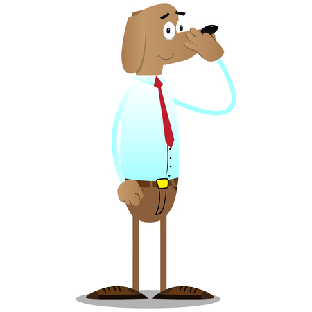 Illustration pour Cartoon illustrated business dog holding his nose because of a bad smell. - image libre de droit