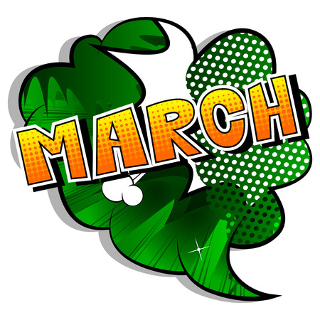 Illustration pour March - Comic book style word on abstract background. - image libre de droit