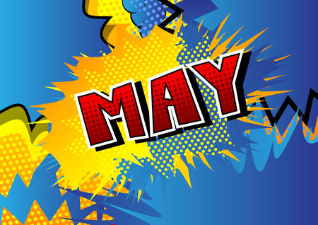 Illustration pour May - Comic book style word on abstract background. - image libre de droit