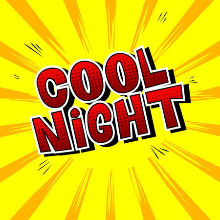Illustration for Cool Night - Comic book style word on abstract background. - Royalty Free Image