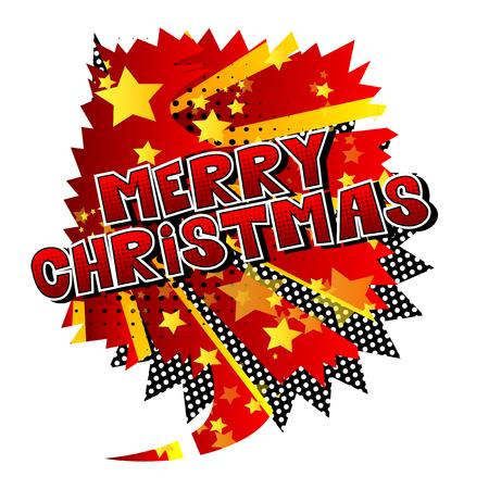 Ilustración de Merry Christmas - Vector illustrated comic book style phrase. - Imagen libre de derechos