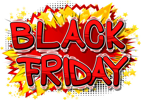 Ilustración de Black Friday - Vector illustrated comic book style phrase. - Imagen libre de derechos