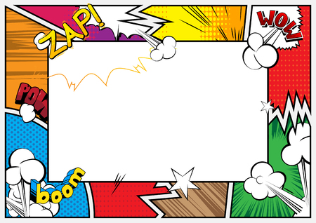 Illustration for Pop Art background with place for text. Comic book frame. Cartoon retro vector illustration drawing for advertising. - Royalty Free Image
