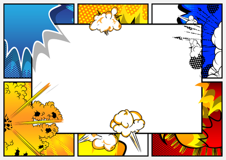 Ilustración de Pop Art background with place for text. Comic book frame. Cartoon retro vector illustration drawing for advertising. - Imagen libre de derechos