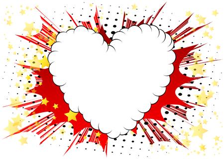 Ilustración de Vector illustrated comic book style heart, abstract love symbol. Icon, sign or emblem for graphic and web design. - Imagen libre de derechos