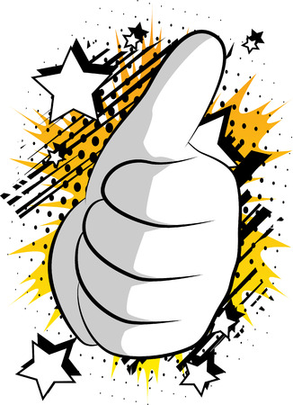 Illustration pour Vector cartoon hand thumbs up. Illustrated Like hand sign on comic book background. - image libre de droit