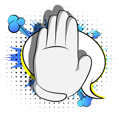 Illustrazione per Vector cartoon hand showing deny or refuse gesture. Illustrated Like hand sign on comic book background. - Immagini Royalty Free