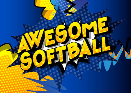 Foto per Awesome Softball - Vector illustrated comic book style phrase on abstract background. - Immagine Royalty Free