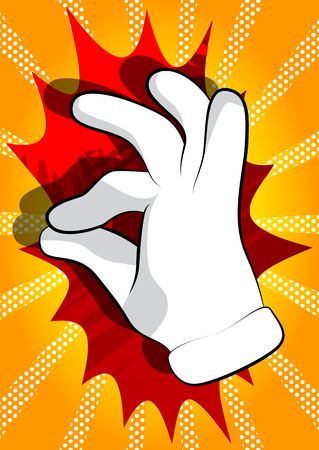 Illustration pour Vector cartoon hand showing ok sign. Illustrated hand sign on comic book background. - image libre de droit
