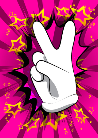 Illustration pour Vector cartoon hand showing the V sign. Illustrated hand sign on comic book background. - image libre de droit