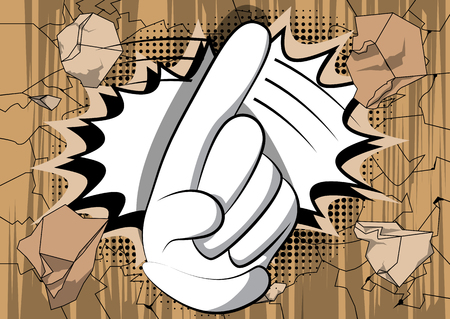 Illustration pour Vector cartoon saying no with his finger. Illustrated hand sign on comic book background. - image libre de droit