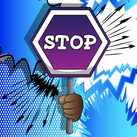 Illustration pour Vector cartoon hand holding a stop sign. Illustrated hand on comic book background. - image libre de droit