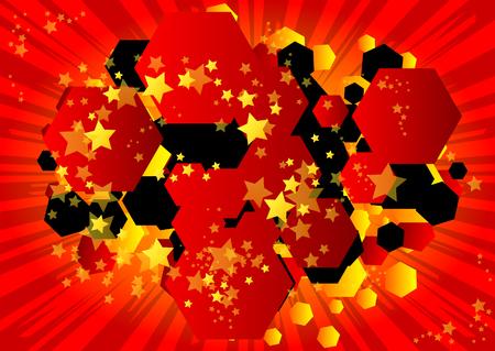 Ilustración de Vector illustrated retro comic book background hexagone shaped bubble, pop art vintage style backdrop. - Imagen libre de derechos