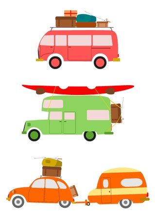 Photo pour Silhouettes of cars going on holiday on white background  - image libre de droit