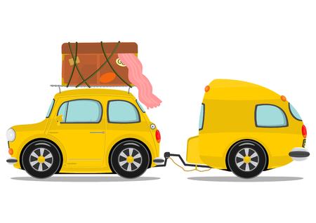 Illustration pour Funny yellow retro car with caravan  Vector  - image libre de droit