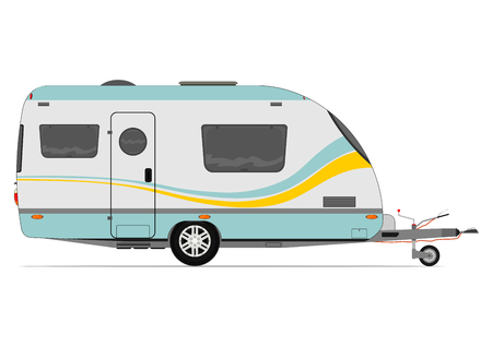 Illustration pour Modern caravan. Vector without gradients on one layer. - image libre de droit