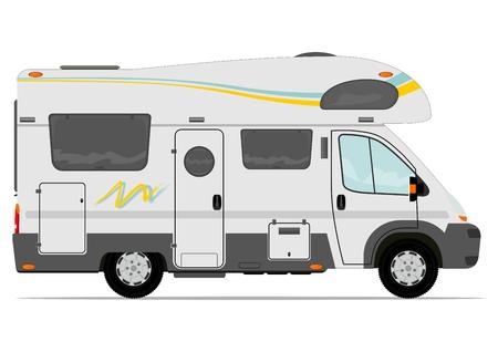 Illustration pour Modern camper van. Vector. Without the gradient, in a single layer. - image libre de droit